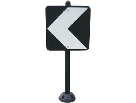 Retro-Post® with chevron sign blade - 60mm round