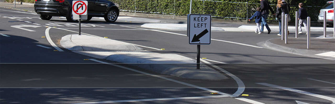 Retro-Post® Keep Left Sign