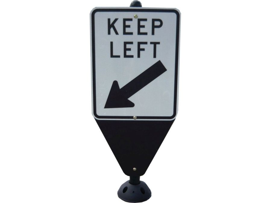 Retro-Post® with keep left and tapered sign blade - 60mm round